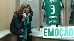 Atriz da Globo se emociona ao conhecer vestiário do Palmeiras