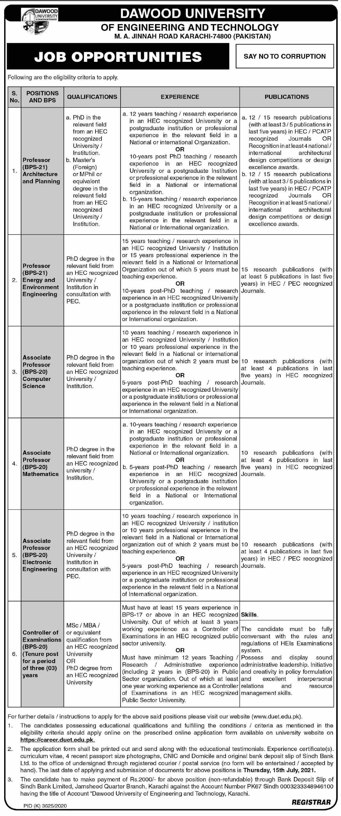 https://career.duet.edu.pk - Dawood University Of Engineering And Technology Jobs 2021 in Pakistan