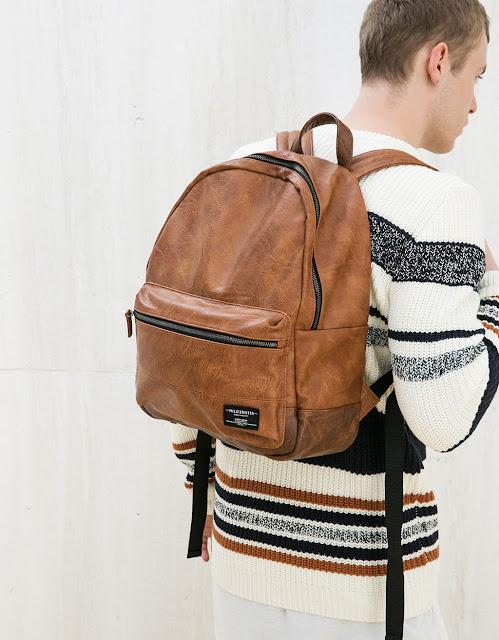 bershka sac à dos cuir marron