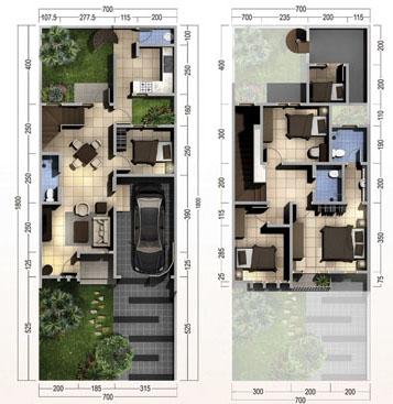 Denah rumah minimalis ukuran 7x18 meter 5 kamar tidur 2 lantai