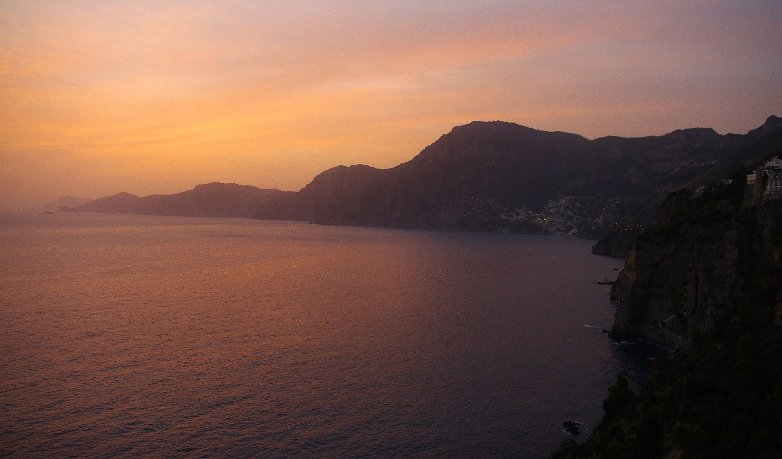 Sunset over Positano from Casa Angelina Praiano Italy