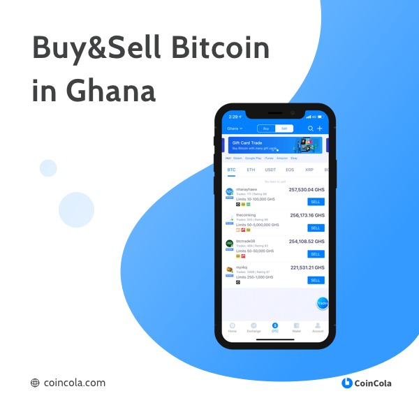 CoinCola Banner Buy and Trade Bitcoin and Gift cards in Ghana 2021-2022