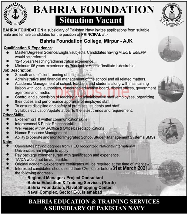 Latest Bahria Foundation College Education Posts 2021