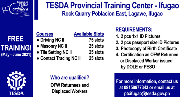 4 Free Training Courses May - June 2021 | TESDA PTC