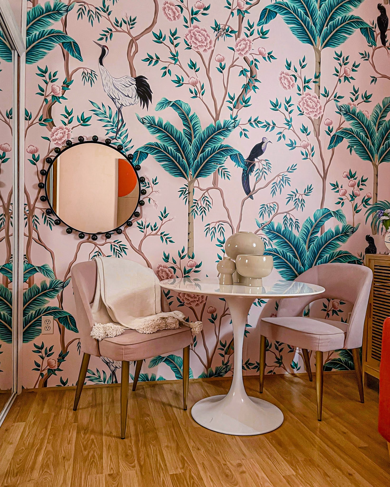 removable wallpaper // limitless walls // tropical wallpapers // pink wallpaper // wallpaper inspo // pink office // pink rooms // tropical office ideas //