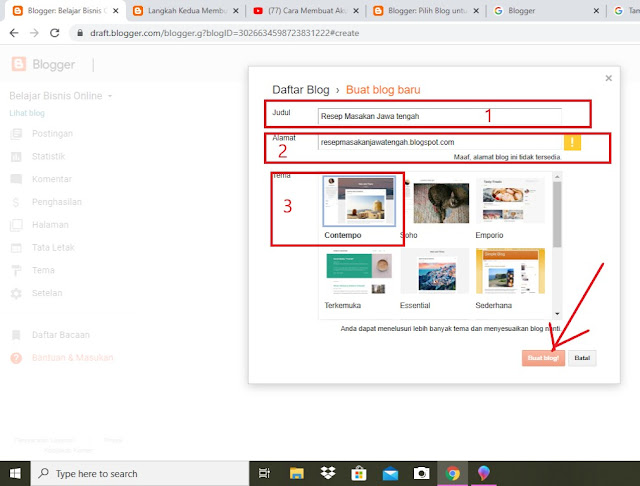 Kotak Dialog Daftar Blog di Blogger