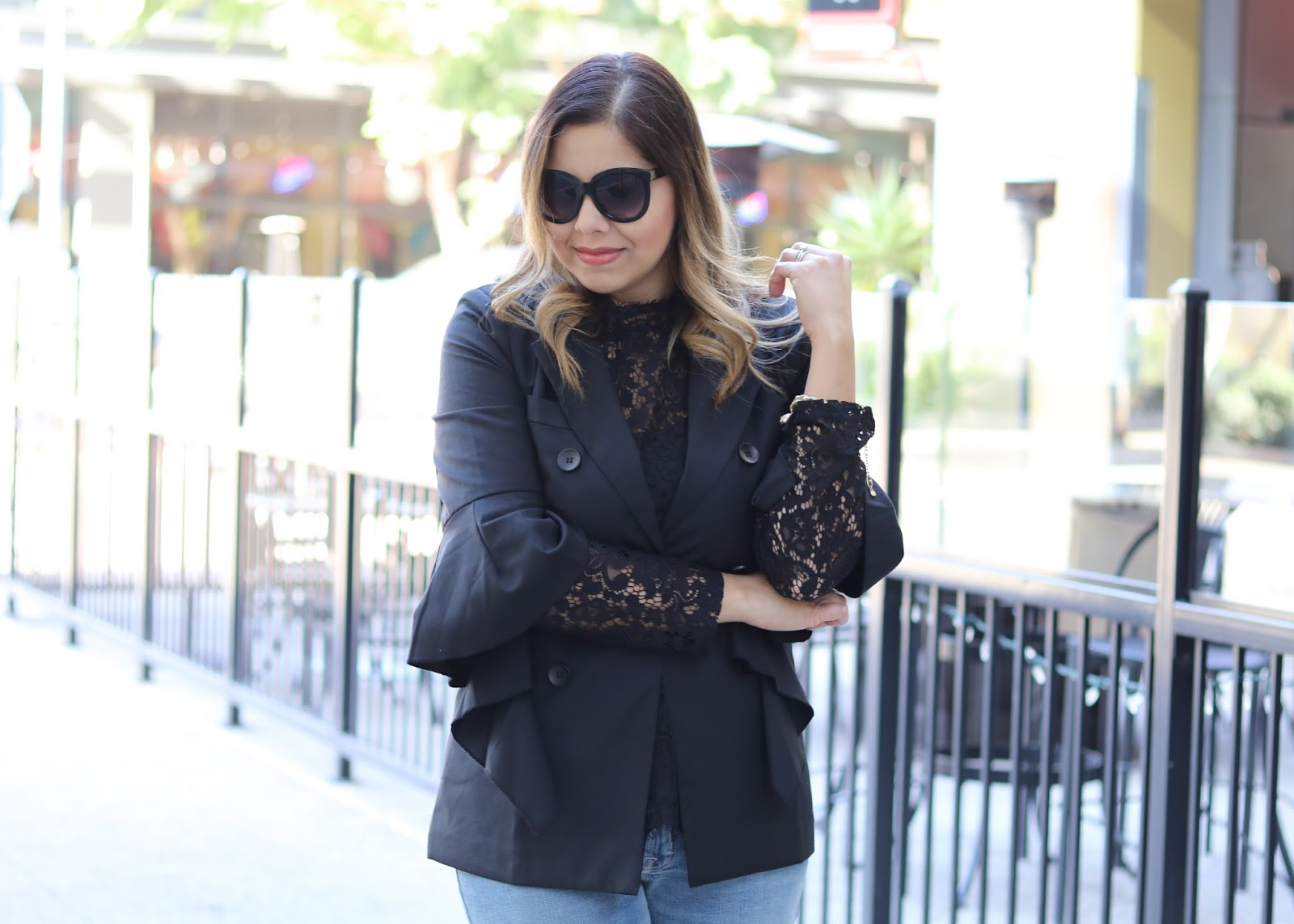 Chicwish blazer with frilly sleeves, lace top from H&M, elegant lace outfit