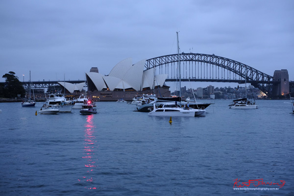 Opera House, pleasure boats, Harbour Bridge at twilight, Windsor Smith Celebrates 70 years at #HarbourLife Sydney 2016. Photographed by Kent Johnson for Street Fashion Sydney.