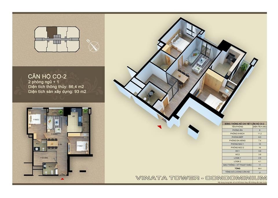 Thiết kế căn hộ C-02 DT: 86,4m2, 2PN, 2VS
