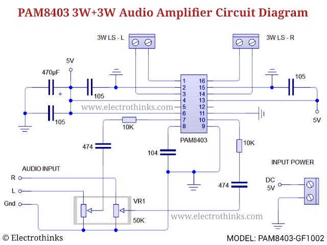Schematic of PAM8403 GF1002 Audio amplifier module circuit