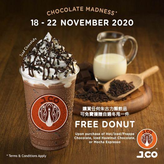 J.CO Donuts & Coffee: 買朱古力送冬甩 至11月22日