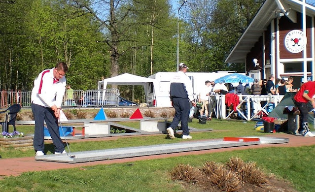 In action at the Minigolf Nations Cup in Tampere, Finland