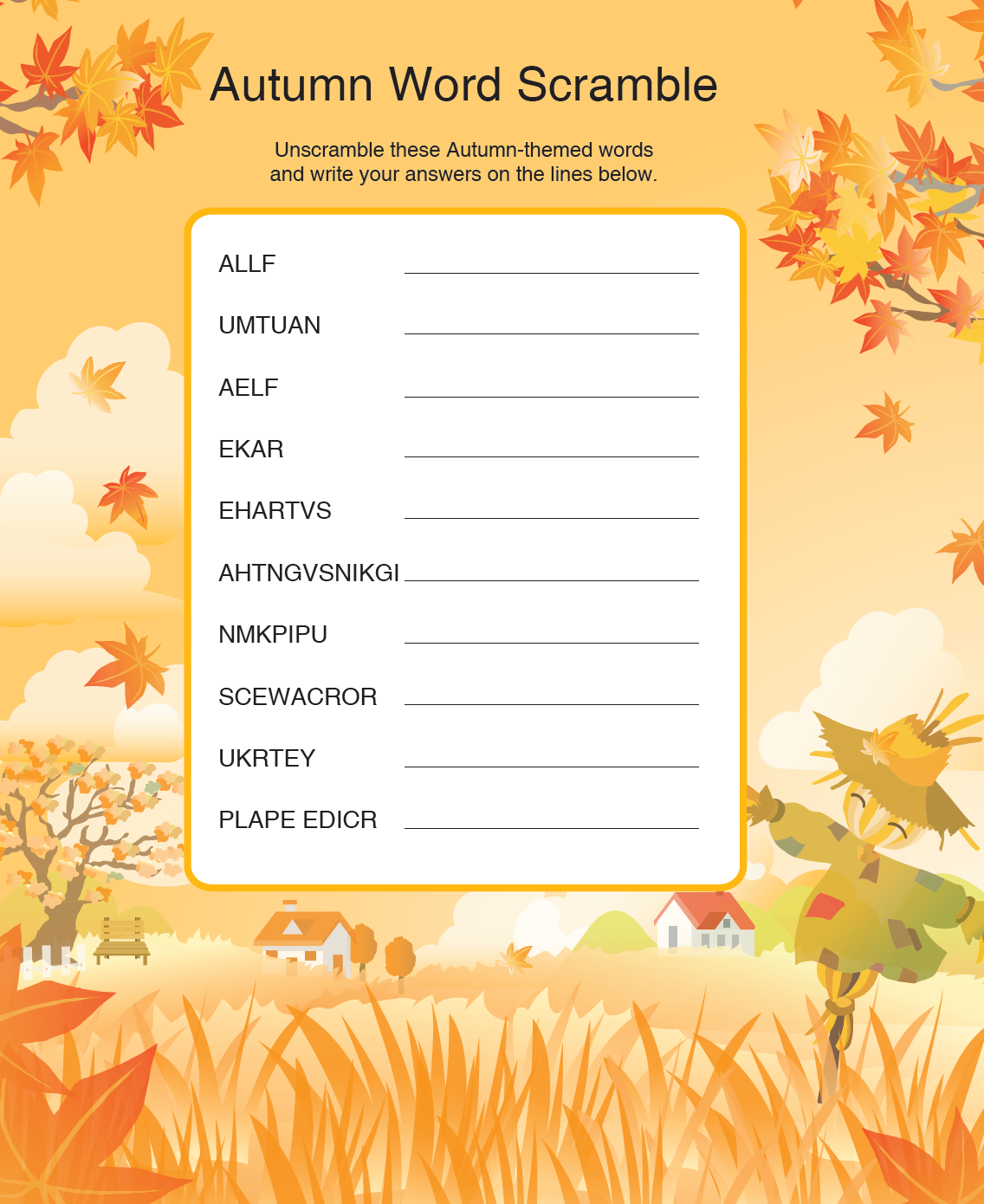 Your English Teacher Autumn Word Scramble