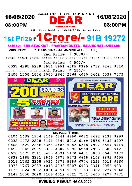 Nagaland State Lottery Sambad 16-08-2020 Today Result 8 PM
