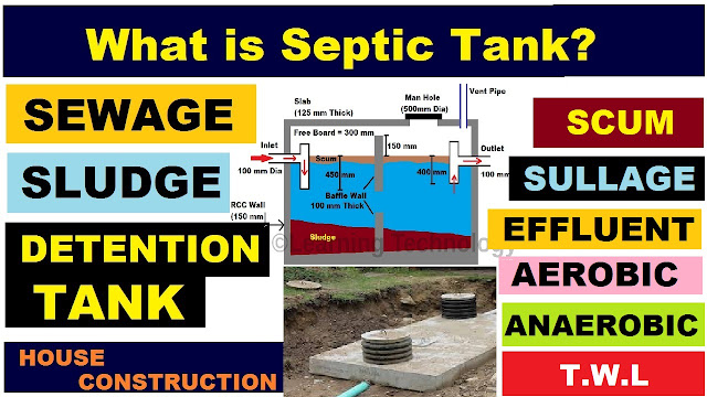 What is Septic tank, Effluent, Scum, Sewage, Detention Tank, Aerobic and Anaerobic Bacteria