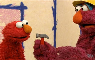 Telly reappears saying it's hammer time. Elmo asks him what he's building. Sesame Street Elmo's World Building Things