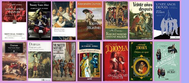 portadas de la novela clásica de aventurasVeinte años después, de Alejandro Dumas