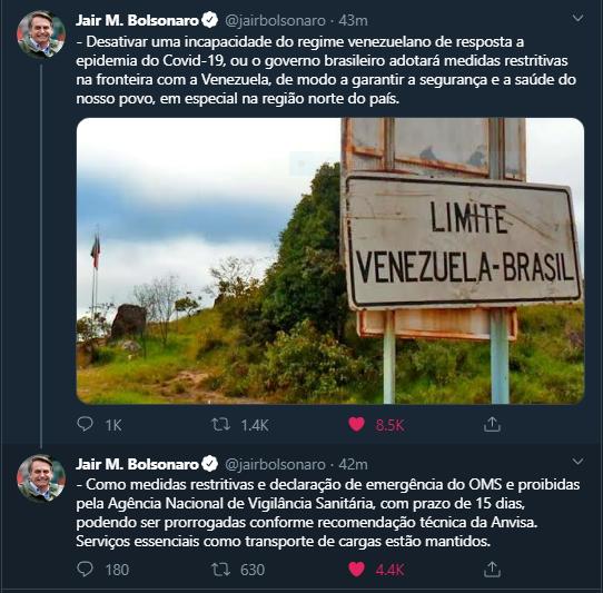 Medidas restritivas na fronteira com a Venezuela