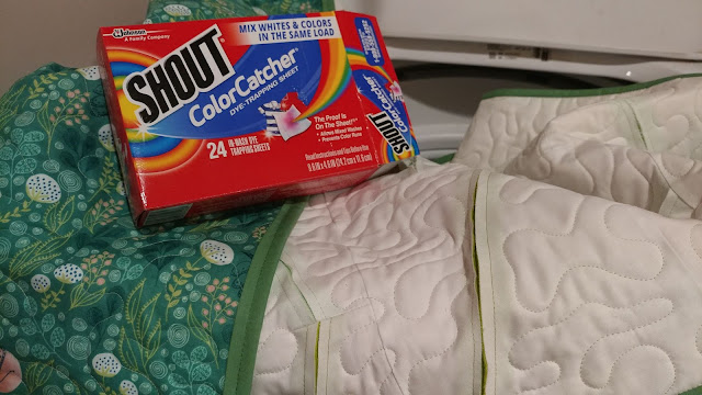 Washing a quilt with Shout Color Catchers