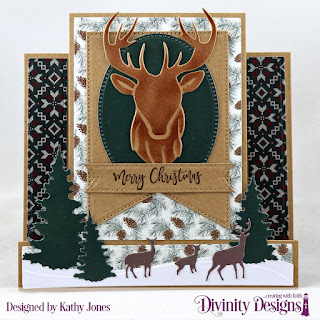 Stamp/Die Duos: Deer Ornament, Custom Dies: Deer Silhouette Die, Trees & Deer, Large Banners, Pierced Ovals,Treat Tags, Curvy Slopes, Center Step Card with Layers, Paper Collection: Rustic Christmas