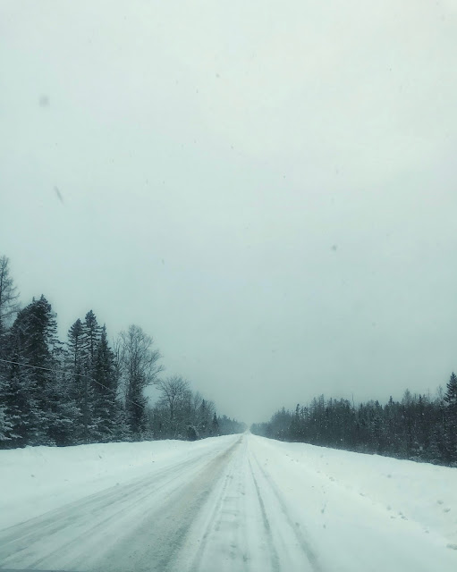 snow covered roads between Haynesville and Lincoln, Maine