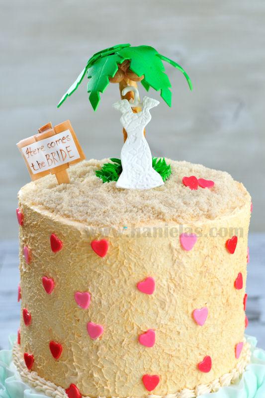Haniela\'s: Ruffle Beach Bridal Shower Cake with a Palm Tree