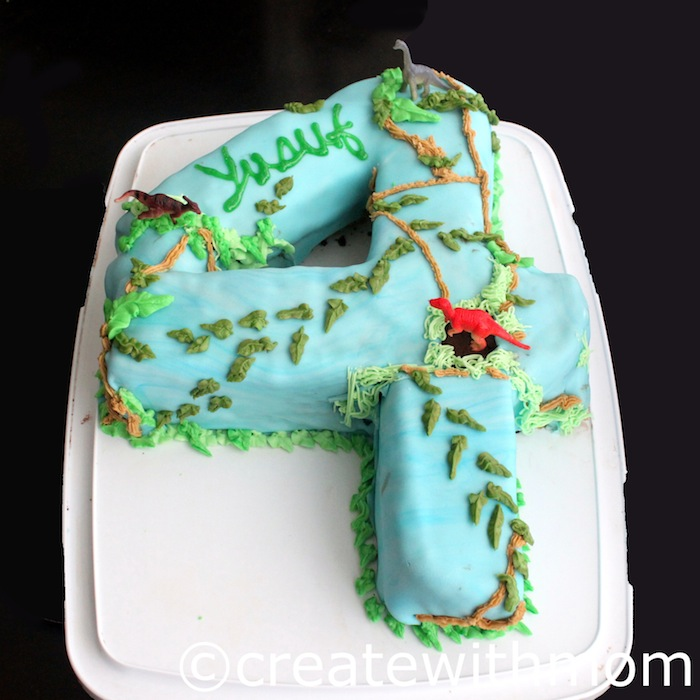 Create With Mom Dinosaur Park 4th Birthday Cake