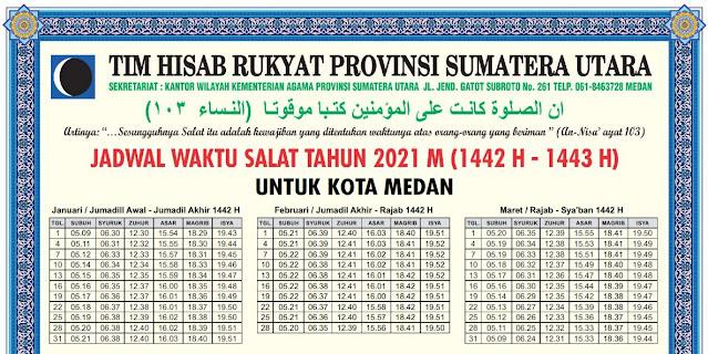 Jadwal Sholat Terbaru Seluruh Kabupaten Kota Se Sumatera Utara Tahun 2021