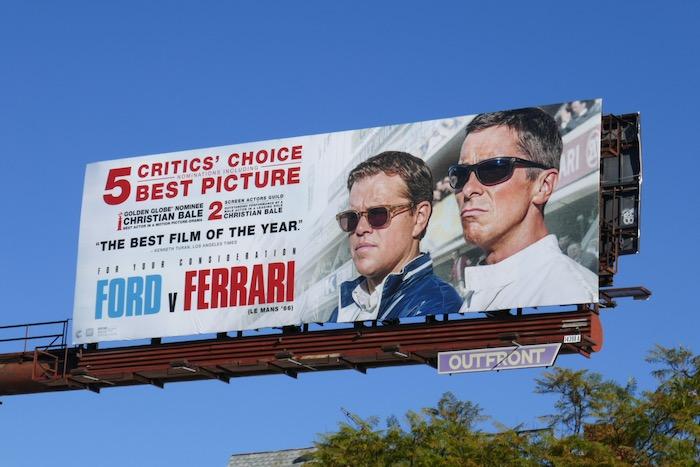 Ford v Ferrari Critics Choice Awards billboard