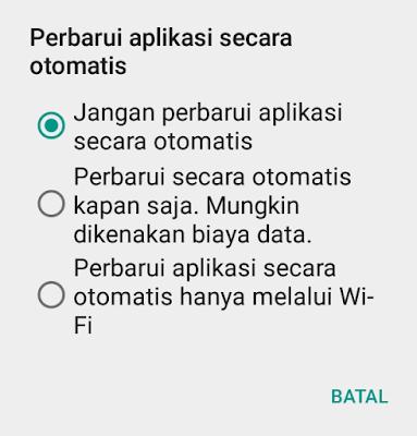 Menonaktifkan pembaruan Aplikasi otomatis pada Android