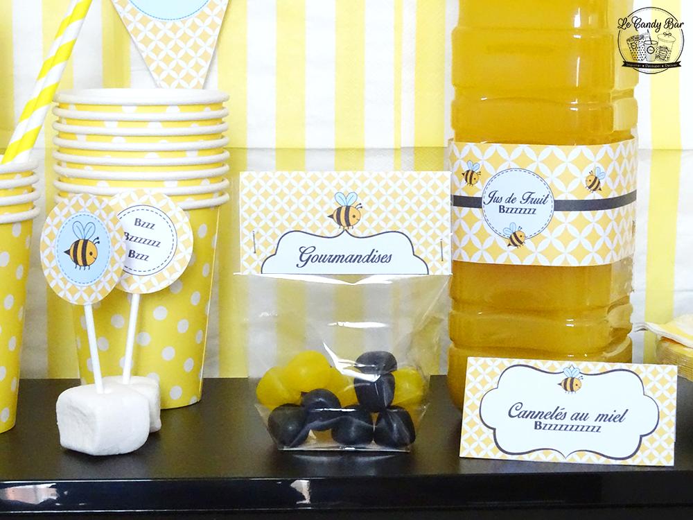 decoration pour table d'anniversaire theme jaune et abeille
