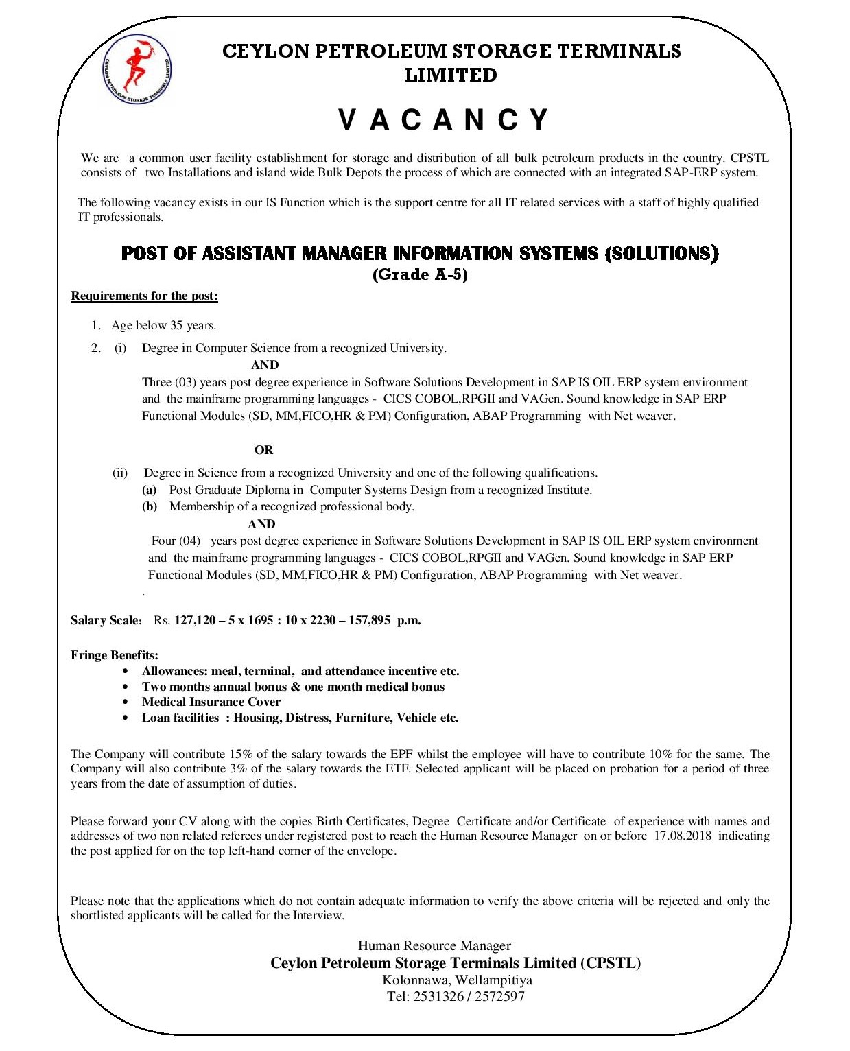 Asst: Manager Information Systems