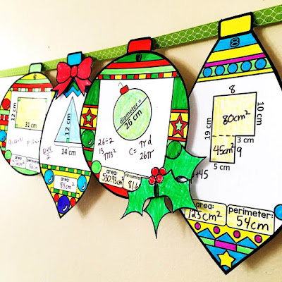 Finding area and perimeter of rectangles, squares, circles, triangles and composite figures holiday ornament activity