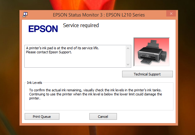 Mengatasi Error Printer Epson L210 - A Printer's Ink Pad at the end of its services life