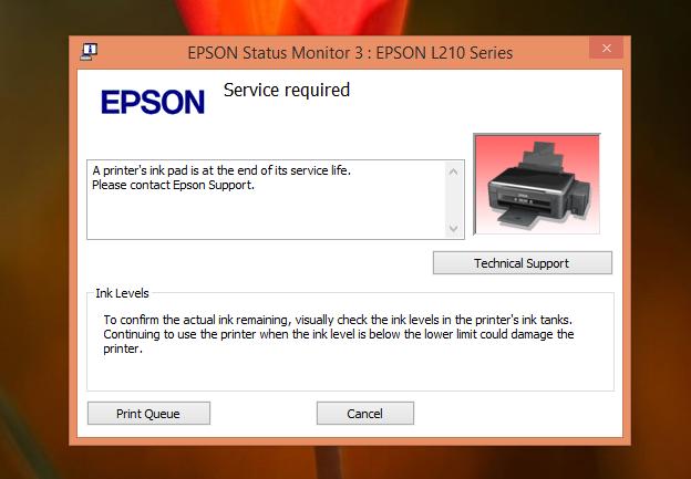 dan kemarin printer itu nyadat dengan ciri Mengatasi Error Epson L210 - A Printer's Ink Pad at the end of its services life