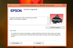 Mengatasi Error Epson L210 - A Printer's Ink Pad at the end of its services life