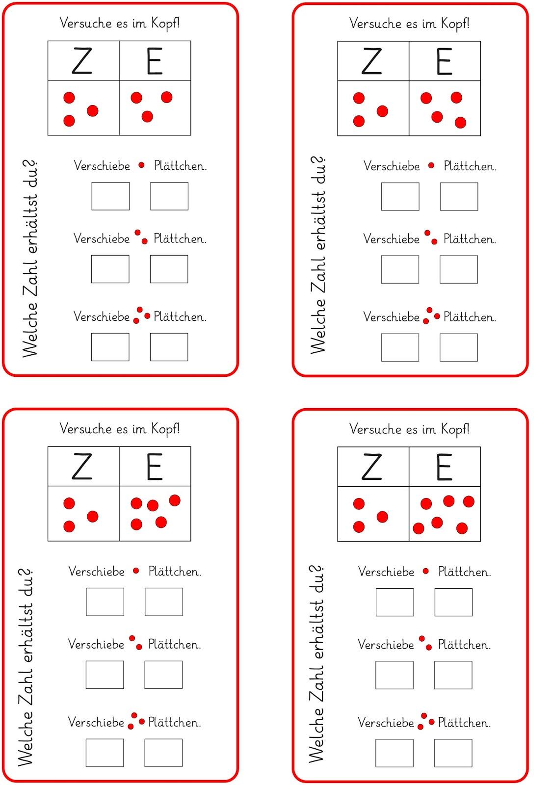 Lernstübchen: Plättchen in der Stellenwerttafel verschieben