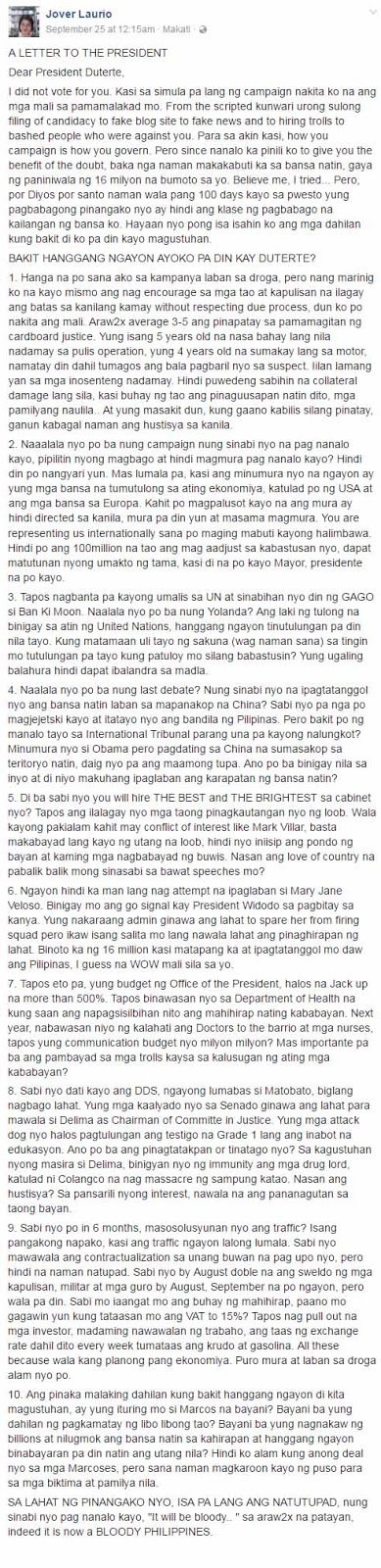 Outraged Pinay Netizen Goes on Rant, Lists Reasons Why She Hates President Duterte!