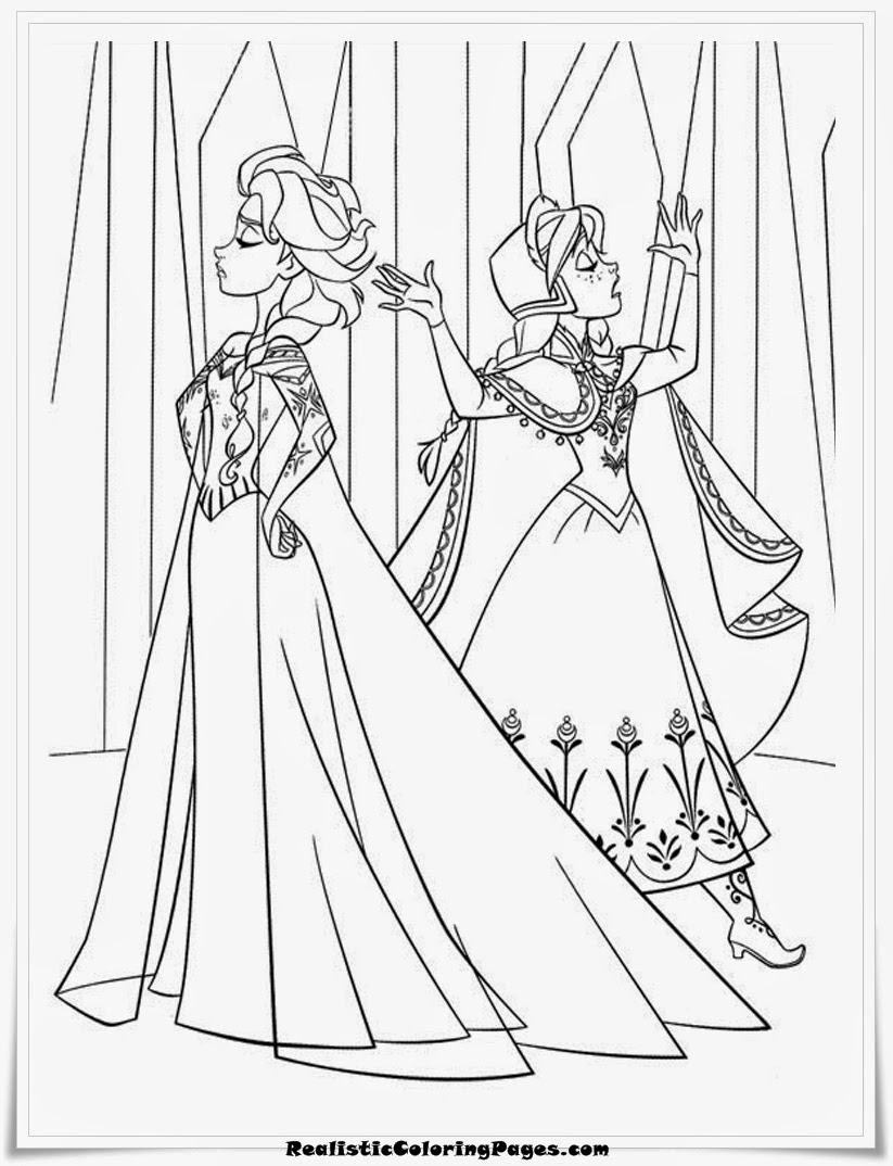 frozen coloring pages elsa and anna
