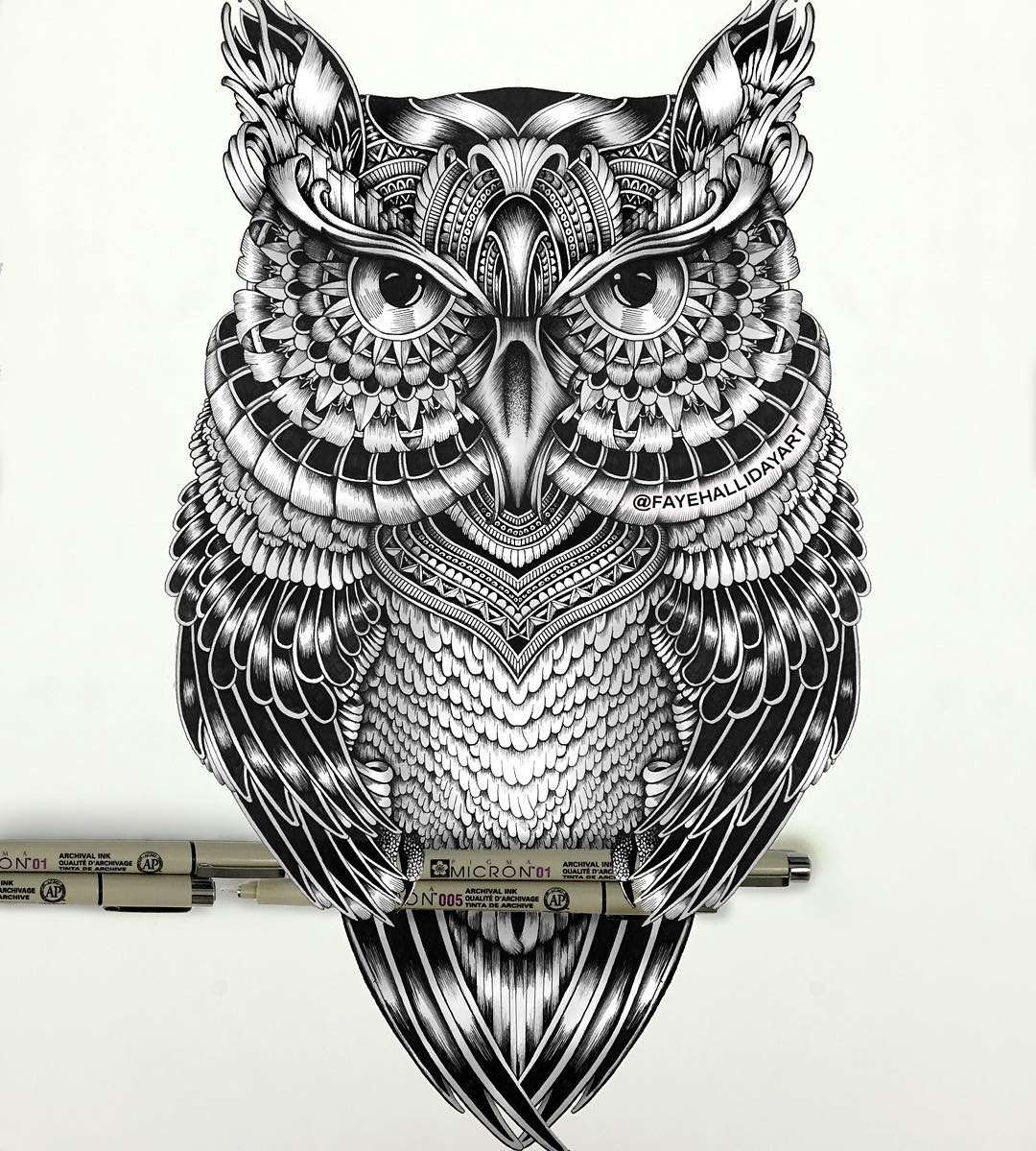13-Owl-Faye-Halliday-Haathi-Detailed-Drawings-Representing-Complex-Animal-www-designstack-co