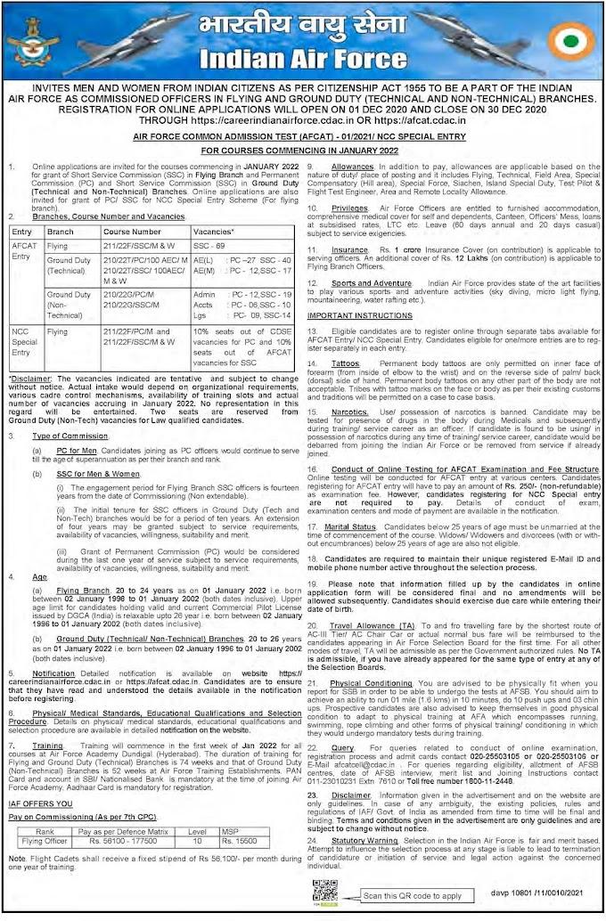 Indian Air Force Recruitment 2020 AFCAT 01/2021 – 235 Posts afcat.cdac.in/AFCAT/ Last Date 30-12-2020
