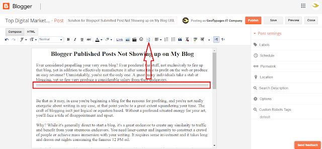 page break in blogger and update