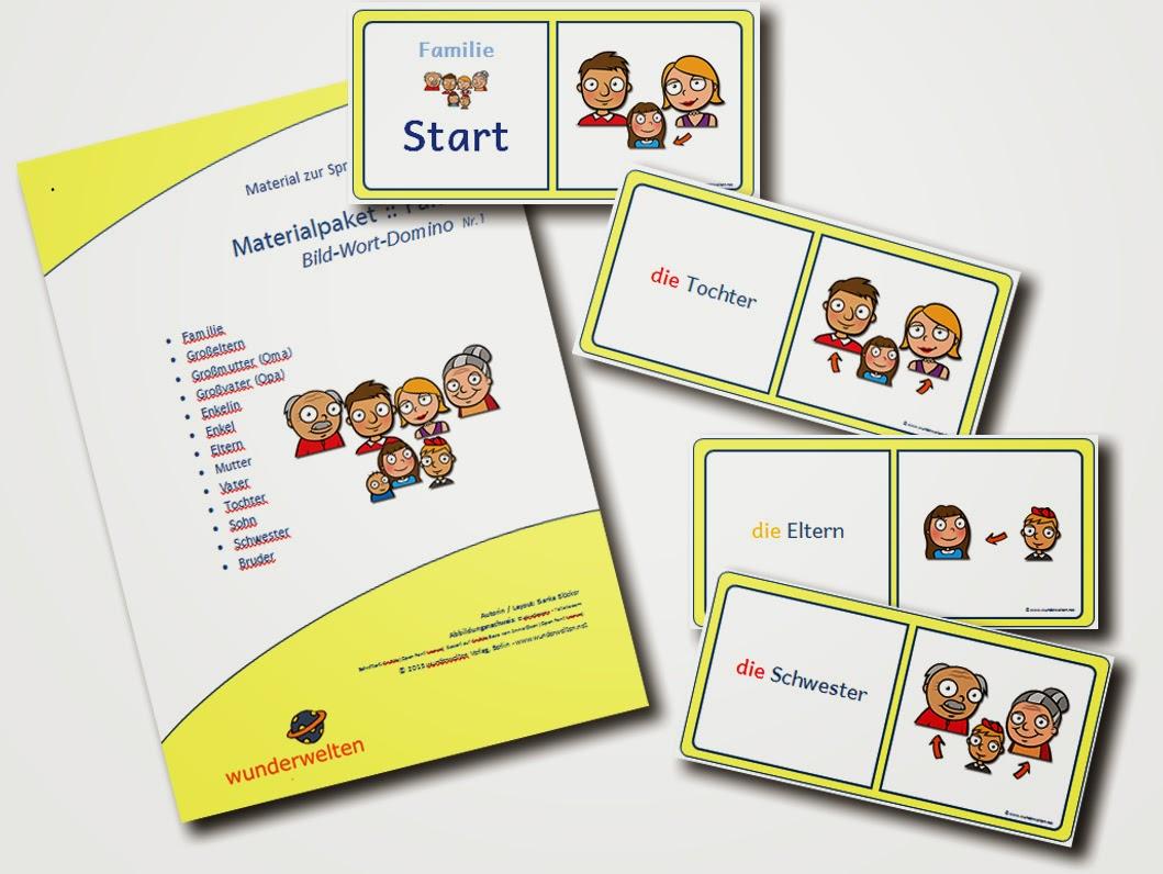 DaZ Material Familie - Bild-Wort-Domino zur Sprachförderung in der Grundschule kostenlos