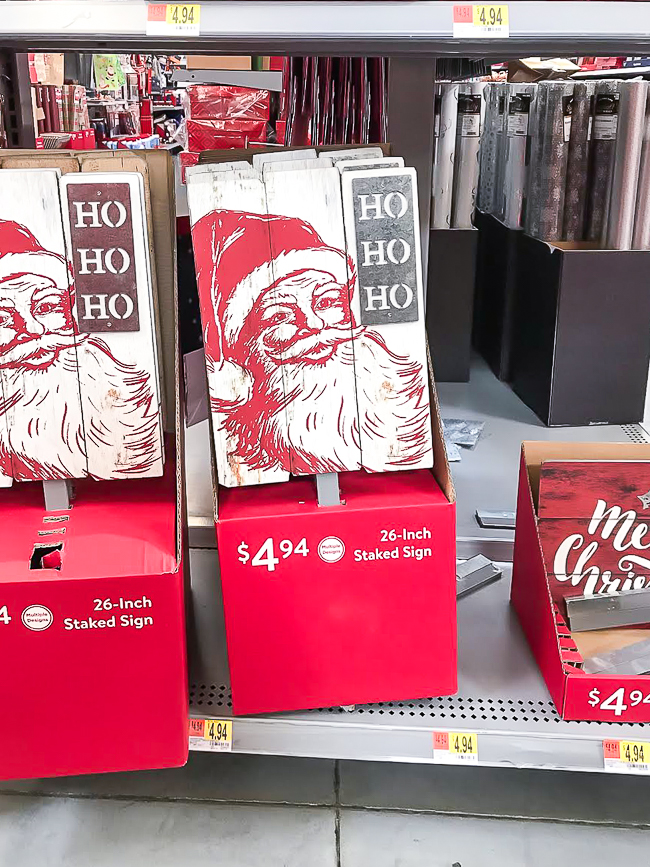 Stacked Santa sign from Walmart