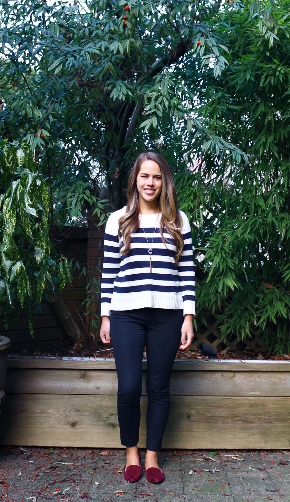 Jules in Flats - Striped Sweater + Red Flats for Work (Business Casual Winter Workwear on a Budget)