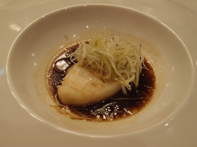 steamed sea perch with yuzu sauce