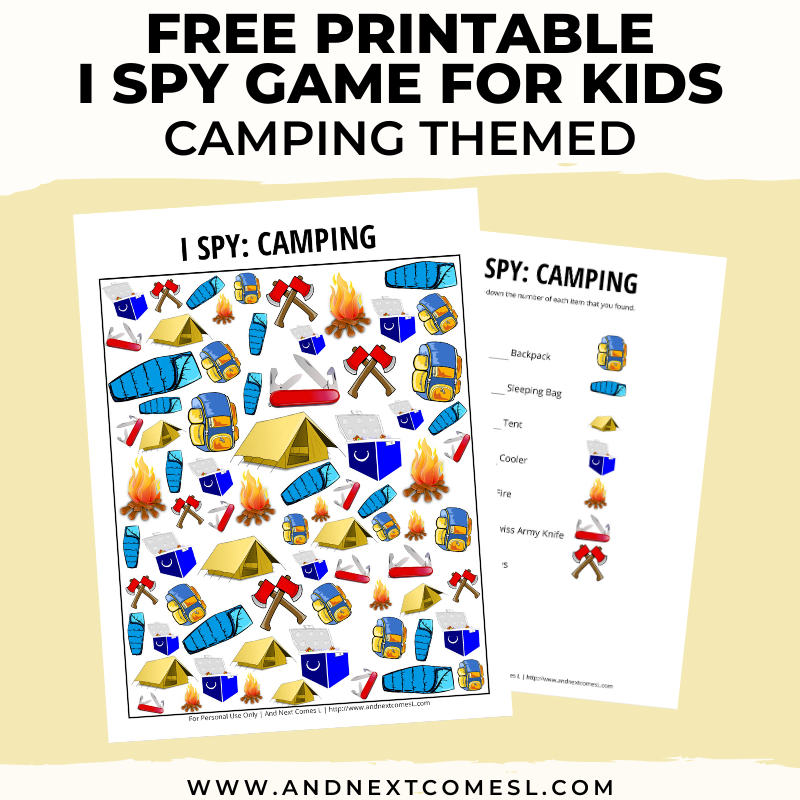 Camping Themed I Spy Game Free Printable For Kids And Next Comes L Hyperlexia Resources