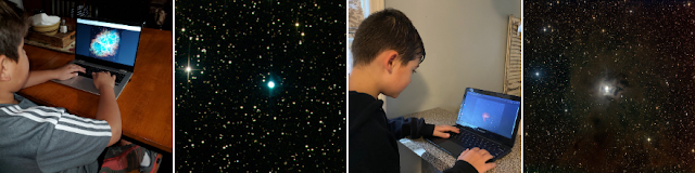 5th-grade students selecting a nebula to image on ATEO-1 with NGC 7662, a planetary nebula located in the constellation Andromeda and NGC 7023, the Iris Nebula, a bright reflection nebula in the constellation Cepheus.
