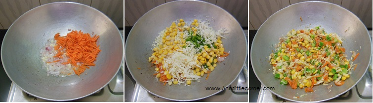 How to make Sweet Corn Fried Rice- Step 2
