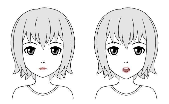 Contoh gambar bibir gadis anime